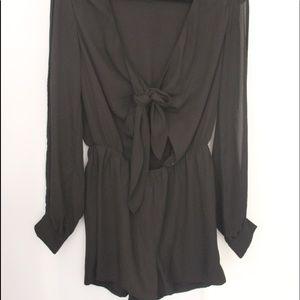 Dresses & Skirts - Black front tie romper